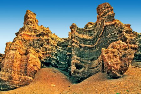 Fantastic forms of the Charyn canyon. Near Almaty, Kazakhstan