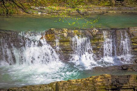 Waterfall on the river Dagomys. Sochi National Park Stock Photo