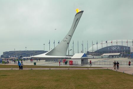 SOCHI, RUSSIA - FEBRUARY 21, 2014: Olympic flame in the Olympic Village