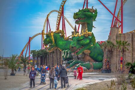 SOCHI, RUSSIA - FEBRUARY 21, 2014: Attraction with a dragon sculpture