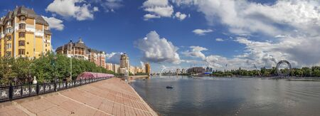 ASTANA, KAZAKHSTAN - JULY 3, 2016: Embankment of the Ishim River