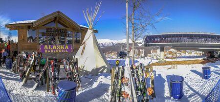 SOCHI, RUSSIA - JANUARY 3, 2018: Alaska Cafe in the ski resort of Rosa Khutor