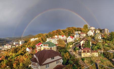 雨の後、私は二重の虹を見て幸運だったと私はこのパノラマをしました
