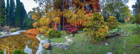 SOCHI, RUSSIA - NOVEMBER 12, 2017: Arboretum - a Japanese garden