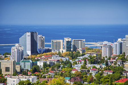 SOCHI, RUSSIA - AUGUST 30, 2015: Urban architecture on the background of the Black Sea.