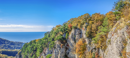 Eagle rocks against the background of the Black Sea. Sochi National Park, Russia. Stock Photo