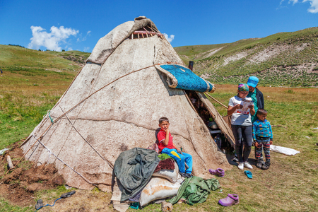 ALMATY, KAZAKHSTAN - JULY 9, 2016: Shepherds on the mountain plateau of Assy.