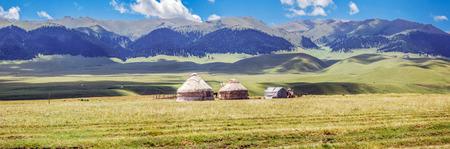 Yurts on the mountain plateau of Assy. Almaty region, Kazakhstan. Stock Photo