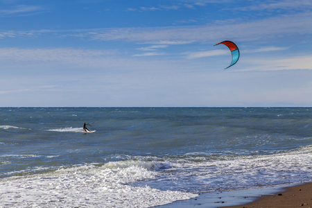 SOCHI, RUSSIA - NOVEMBER 3, 2016: Kiting near the beach.