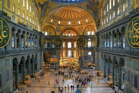ISTANBUL, TURKEY - MARCH 28, 2012: Interior of Ayasofya.