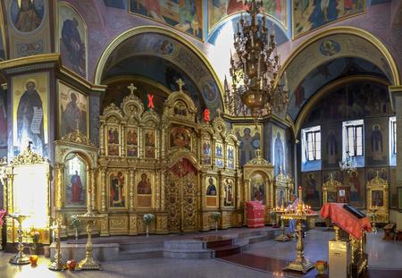 SOCHI, RUSSIA - APRIL 27, 2018: Interior of Church Michael Archangel. Editorial