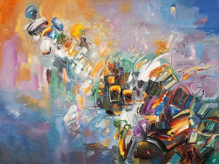 Una obra de arte abstracta de The Emotions. Foto de archivo