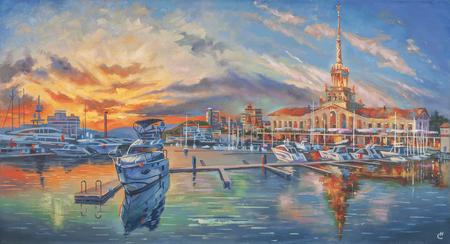 Artwork: Evening in the seaport. Author: Nikolay Sivenkov. 스톡 콘텐츠