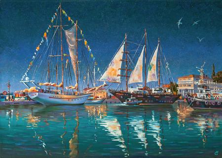 Artwork: Big yachts in Sochi. Author: Nikolay Sivenkov. Stockfoto