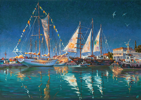Artwork: Big yachts in Sochi. Author: Nikolay Sivenkov. Standard-Bild