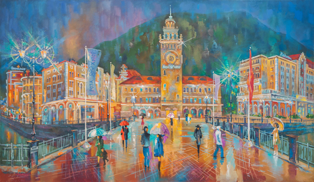 Artwork. Evening rain. Red Glade, Rosa Khutor. Author: Nikolay Sivenkov.