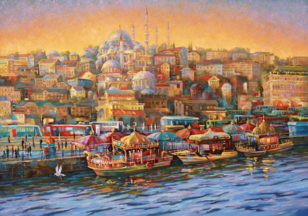 Artwork. Istanbul. Golden Horn Bay. Author: Nikolay Sivenkov. 免版税图像 - 102692284