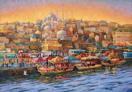 Kunstwerk. Istanbul. Golden Horn Bay.
