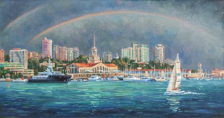 Artwork. Double Rainbow. Author: Nikolay Sivenkov. Stock Photo