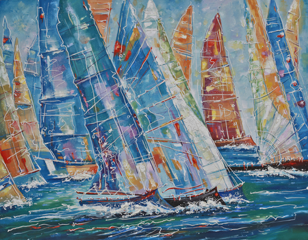 Artwork. Regatta of large yachts. Author: Nikolay Sivenkov.