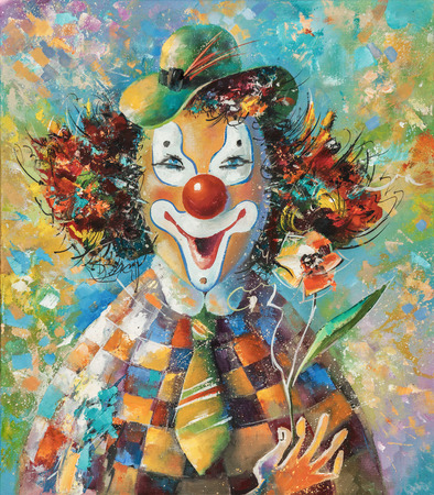 Artwork. Clown with a flower. Author: Nikolay Sivenkov. Banco de Imagens