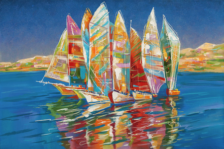 Artwork. Autumn regatta. Author: Nikolay Sivenkov.