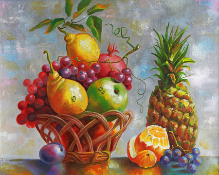 Kunstwerk. Stilleven met ananas. Auteur: Nikolay Sivenkov.