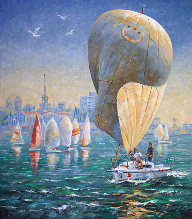 Artwork. Inflated sail on a yacht. Author: Nikolay Sivenkov. Standard-Bild - 102867023