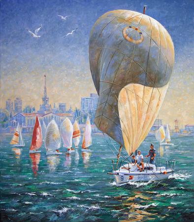 Artwork. Inflated sail on a yacht. Author: Nikolay Sivenkov. Zdjęcie Seryjne