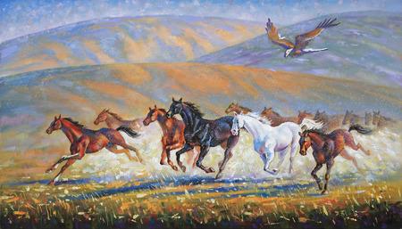 Een grote adelaar over de rennende kudde paarden. Auteur: Nikolay Sivenkov.