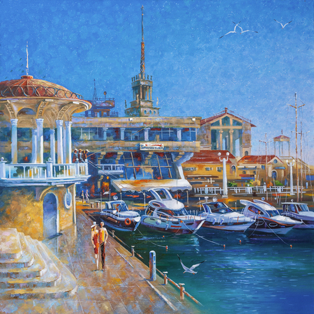 Artwork. Berth in the seaport of Sochi. Author: Nikolay Sivenkov.