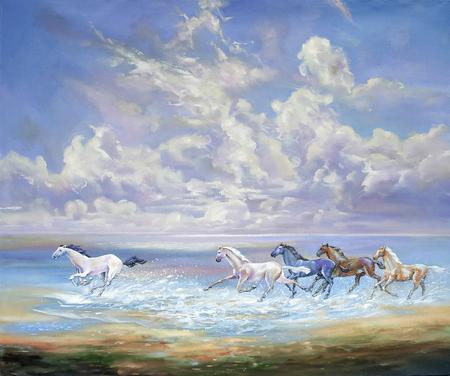 Corriendo caballos en la costa. Autor: Nikolay Sivenkov.