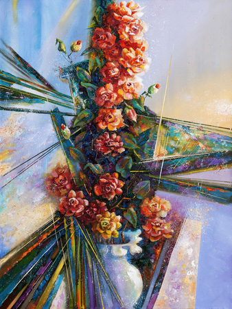 Artwork. Camellia in the vase. Author: Nikolay Sivenkov.