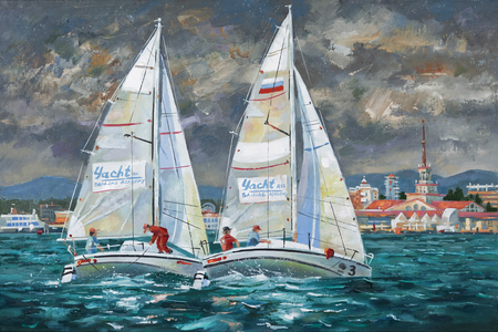 Elan-210 racing yachts in the Black Sea. Author: Nikolay Sivenkov. Standard-Bild - 102958734