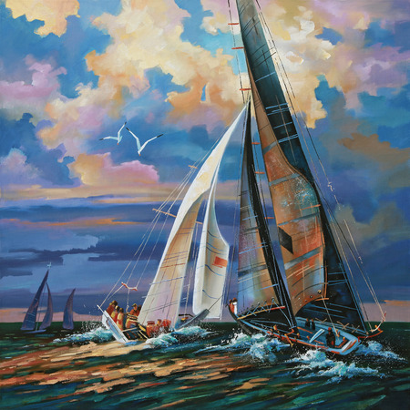 Sailing regatta at sunset. Author: Nikolay Sivenkov.