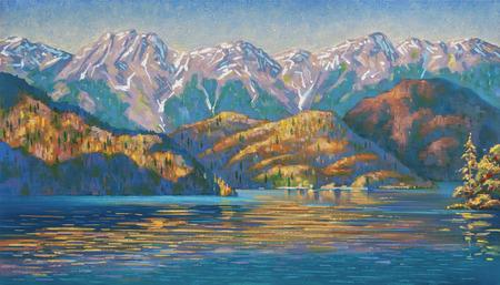 Autumn evening at Lake Ritsa. Author: Nikolay Sivenkov.