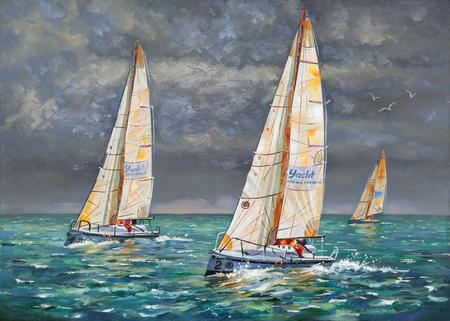Regatta. Yachten kommen ins Ziel. Verfasser: Nikolay Sivenkov.
