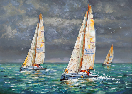 Regatta. Yachts coming to the finish. Author: Nikolay Sivenkov.