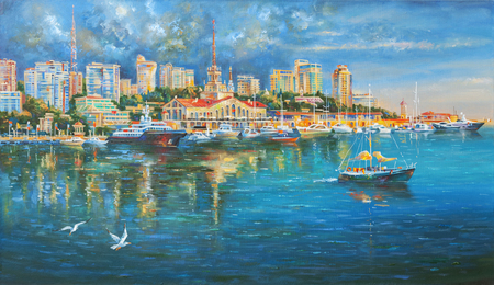 Artwork. Seaport of Sochi. Author: Nikolay Sivenkov. 스톡 콘텐츠