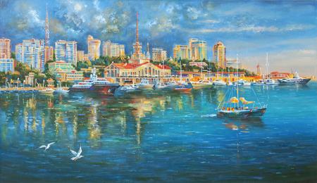 Obra de arte. Puerto marítimo de Sochi. Autor: Nikolay Sivenkov.