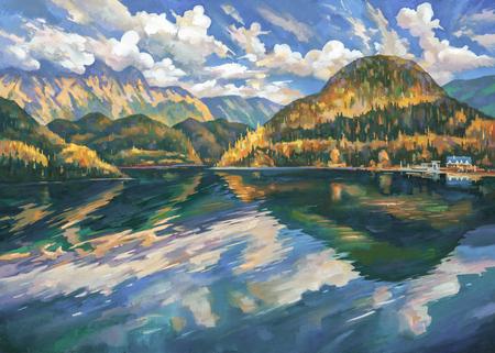 Lake Ritsa in the autumn. Abkhazia. Author: Nikolay Sivenkov. Stockfoto