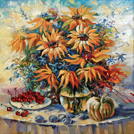 Still life with sunflowers. Author: Nikolay Sivenkov.