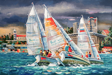 An oil painting on canvas. Regatta on the background of the city of Sochi on a cloudy day.
