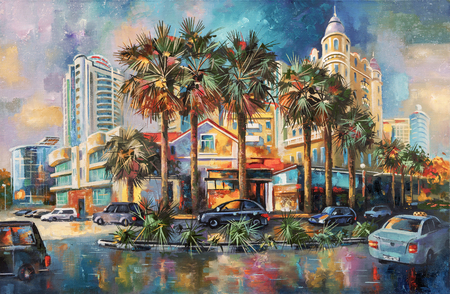 Street after rain. Architectural landscape of the beloved city of Sochi. Painting: canvas, oil. Standard-Bild