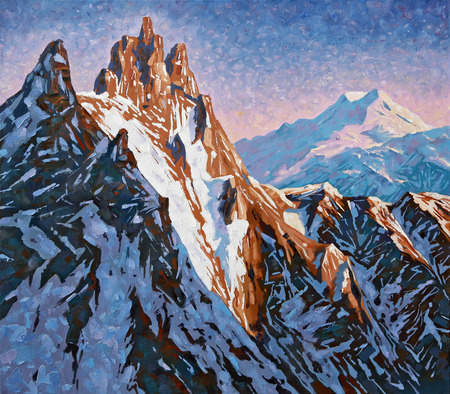 Mountain peaks of the Caucasus at the early dawn, the peak of Shkhelda against the background of Mount Elbrus. Painting: canvas, oil. Standard-Bild - 103085156