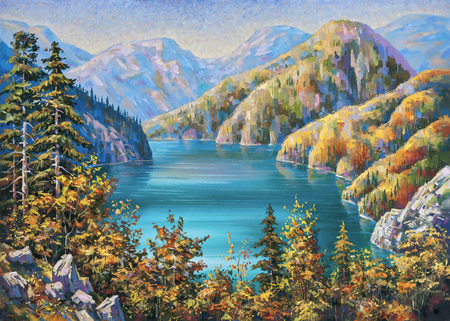 Picturesque Lake Ritsa in late autumn. Republic of Abkhazia. An oil painting on canvas.