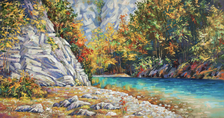 Late autumn on the river Khosta. Mountain landscape of Sochi national park. Painting: canvas, oil.