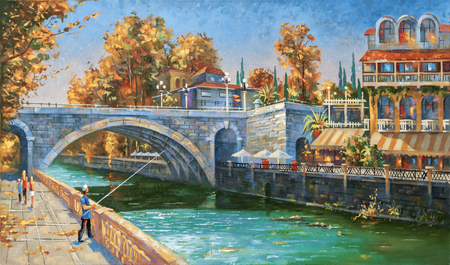 Oil painting on canvas. Fisherman on the embankment of the river Sochi, autumn, the architectural landscape of the beloved city.