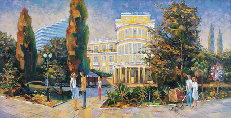 People walk along the embankment. Architectural landscape of the beloved city of Sochi. Painting: canvas, oil 写真素材