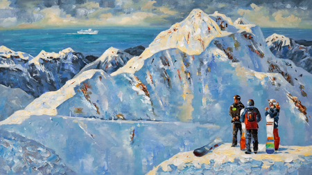 Painting. Snowboarders at the ski resort of Rosa Khutor, near Sochi, Russia.